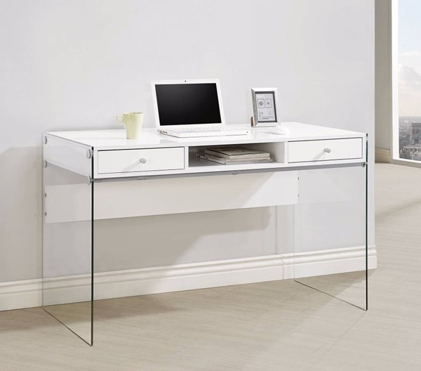 Homeroots Clear Glass White Metal Writing Desks OCN-309575-DSK-VAR