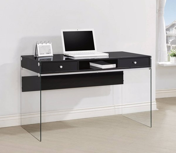 Homeroots Clear Glass Black Metal Writing Desk OCN-309576