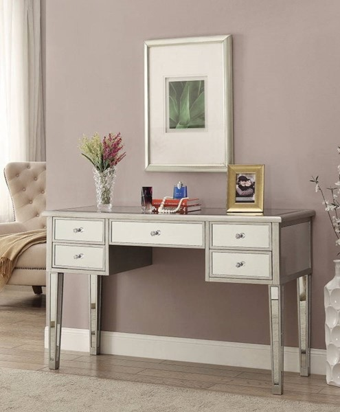Homeroots Silver Wood Dazzling Writing Desk with Mirrored OCN-309579