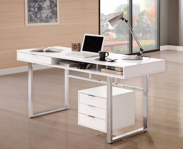 Homeroots Contemporary White Wood Writing Desk OCN-309581