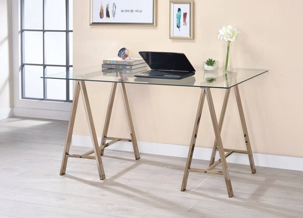 Homeroots Clear Glass Top Gold Metal Writing Desk OCN-309582