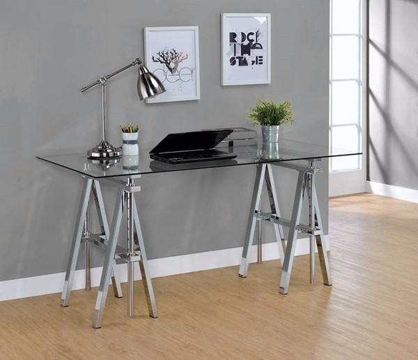 Homeroots Clear Silver Metal Adjustable Writing Desk with Sawhorse Legs OCN-309583