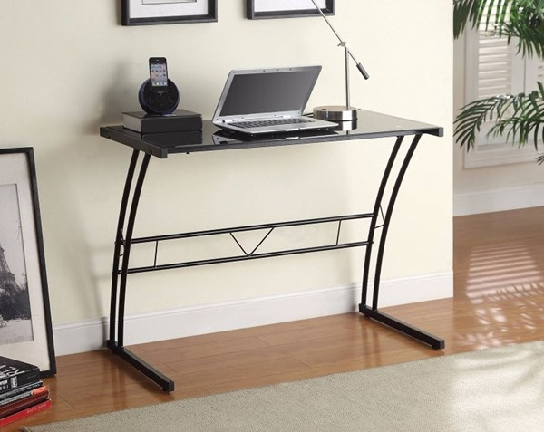 Homeroots Black Glass Top Metal Writing Desk OCN-309584