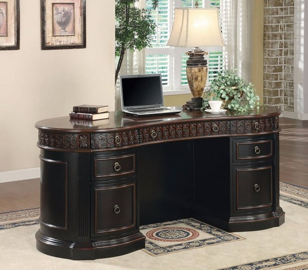 Homeroots Brown Wood Sturdy Executive Desk OCN-309589