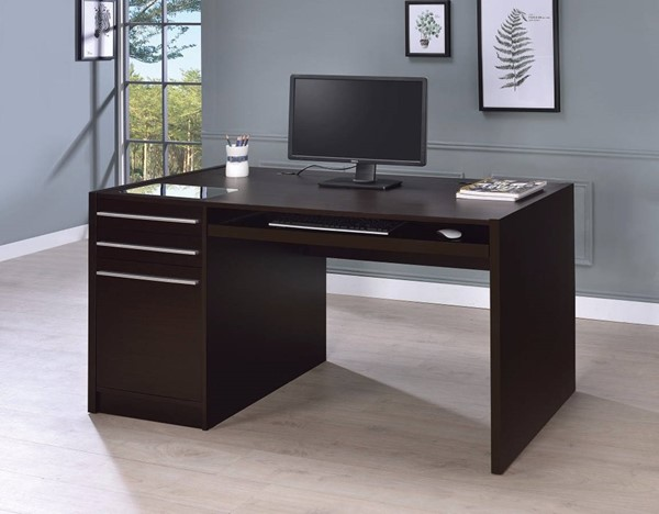 Homeroots Contemporary Brown Wood Connect It Computer Desk OCN-309592