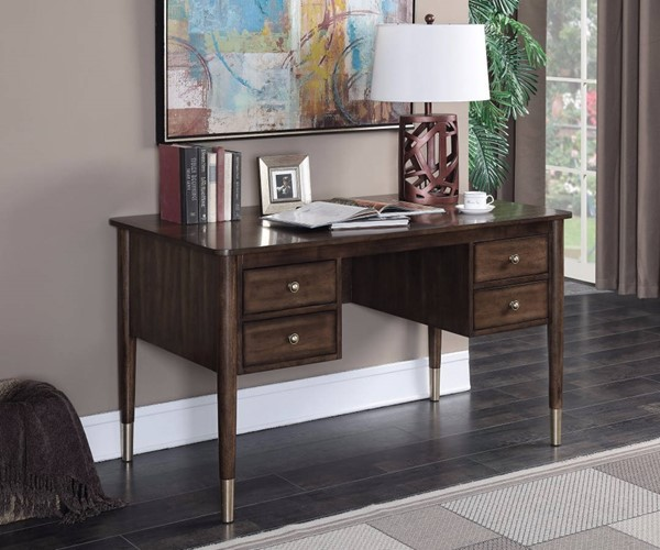 Homeroots Brown Wood Writing Desk with 4 Drawers OCN-309598