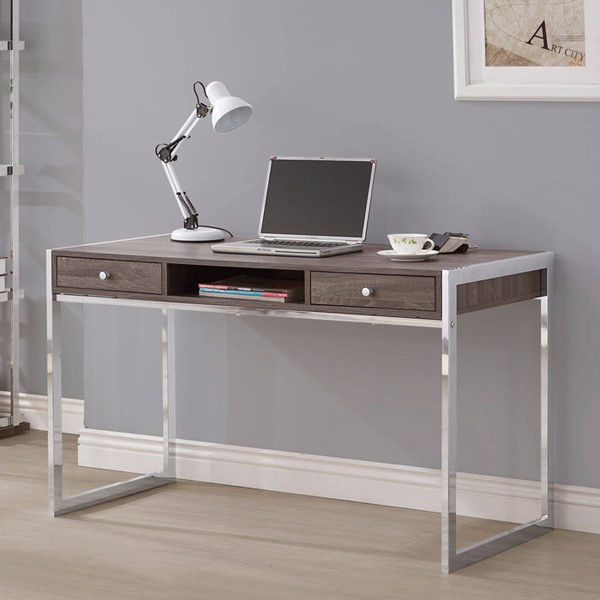 Homeroots Gray Wood Chrome Metal Writing Desk OCN-309612