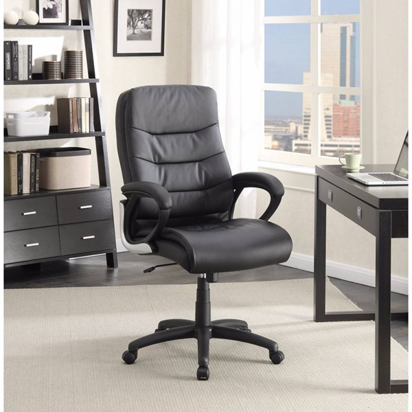 Homeroots Black Bonded Leather Executive High Back Black Chair OCN-309640