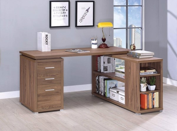 Homeroots Brown Wood L Shaped Office Desk OCN-309646