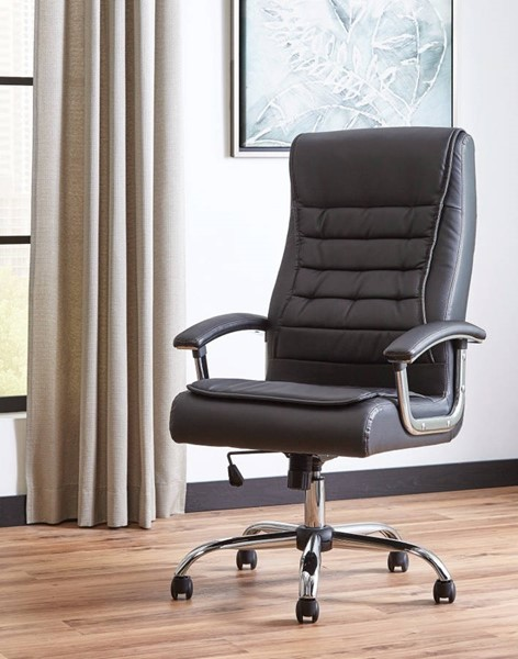 Homeroots Black Leather Padded Executive High Back Chair OCN-309648