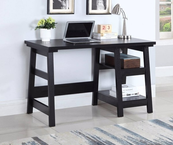 Homeroots Black Wood Writing Desk OCN-309678