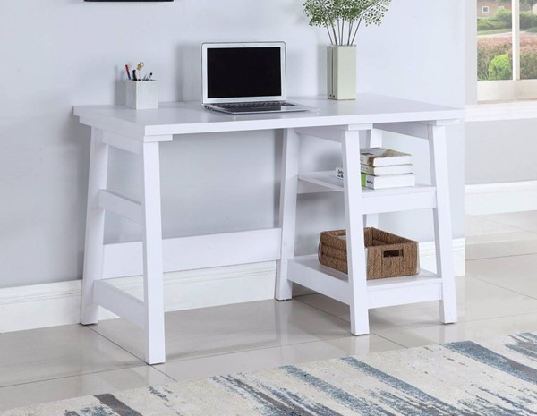 Homeroots White Wood Writing Desk OCN-309679