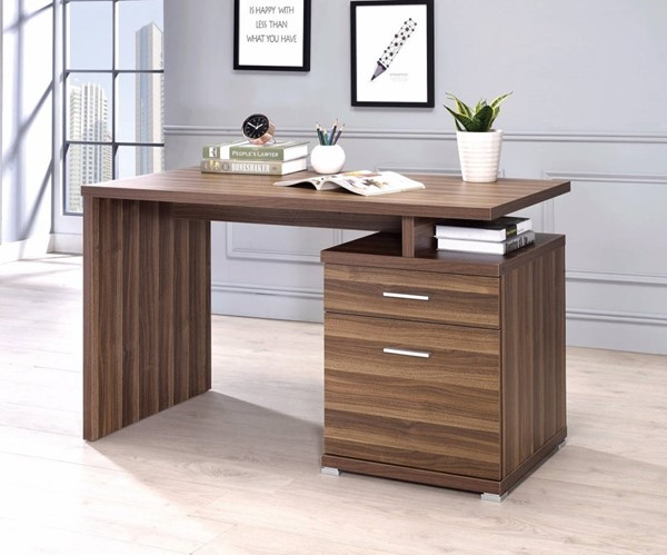Homeroots Brown Wood Office Desk with Cabinet OCN-309683