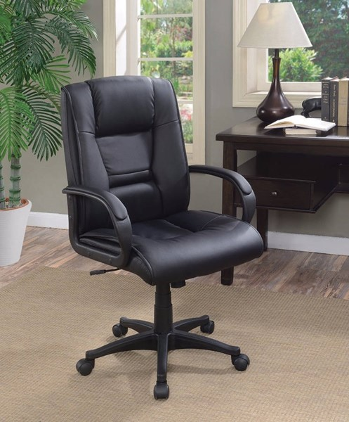 Homeroots Black Leather Leather Executive High Back Office Chair OCN-309695
