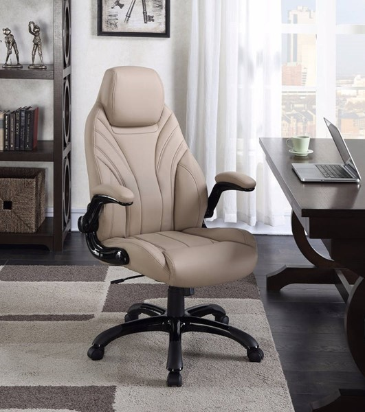 Homeroots Brown Leather Executive High Back Office Chair OCN-309696