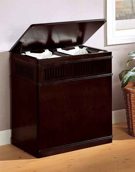 Homeroots Brown Wood Laundry Hamper with Removable Canvas Liner Bags OCN-309716