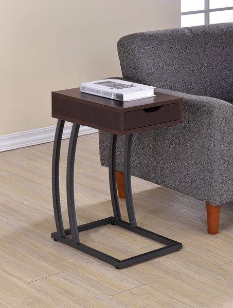 Homeroots Black Wood Metal Accent Table with Storage Drawer and Outlet OCN-309735