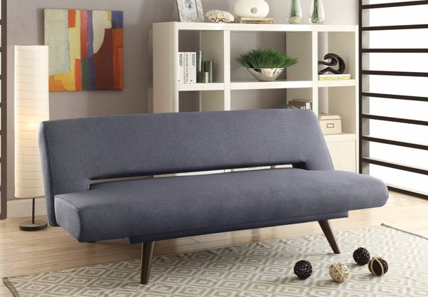 HomeRoots Modern Gray Hardwood Adjustable Sofa Bed OCN-309873