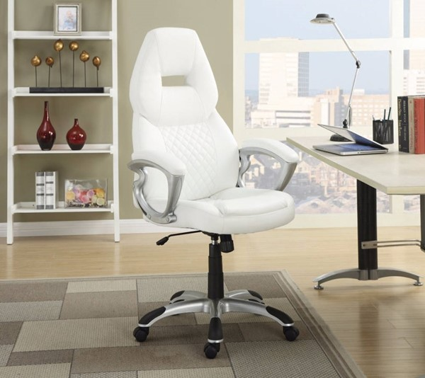 Homeroots White Leather Executive High Back Office Chair OCN-309881