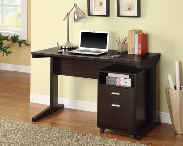 Homeroots Brown Wood 2pc Desk Set with Rolling File Cabinet OCN-309886