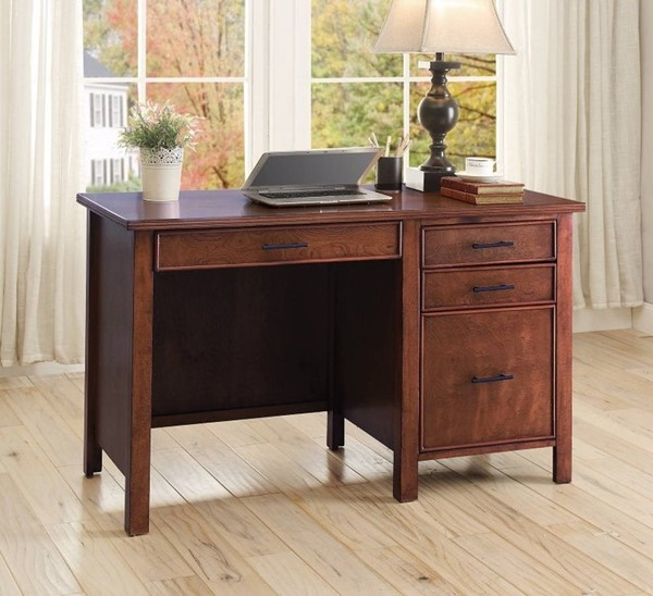 Homeroots Brown Wood Office Desk with File Cabinet OCN-309889