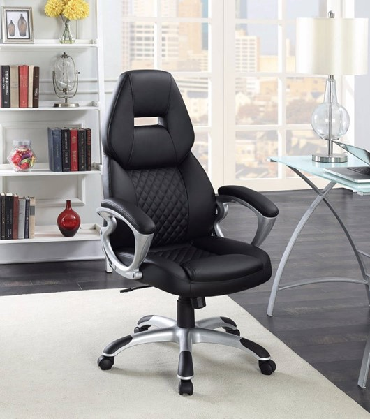 Homeroots Black Leather Executive High Back Office Chair OCN-309890