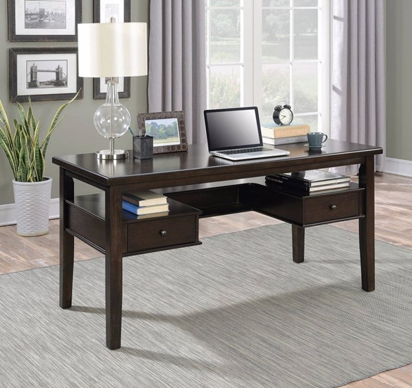 Homeroots Brown Wood Writing Desk with Floating Drawers OCN-309892