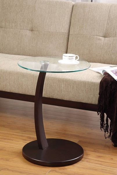 Homeroots Clear Glass Top Wood Round Accent Table OCN-309937