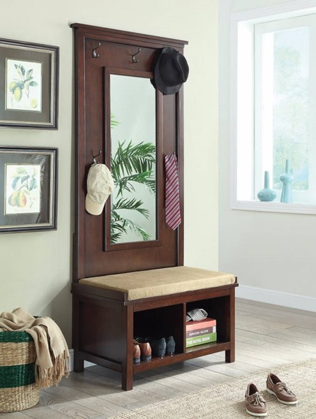 Homeroots Brown Wood Hall Tree with Storage Bench and Mirror OCN-309940