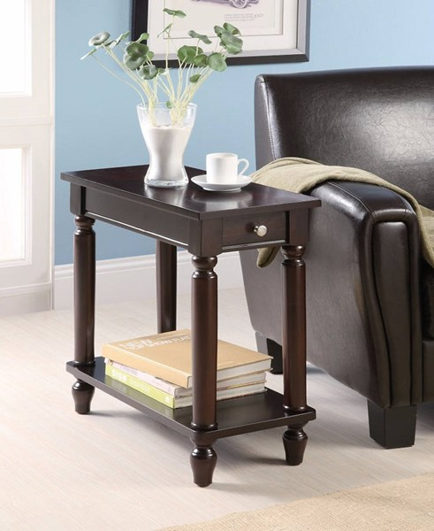 Homeroots Brown Wood Drawer Chair Side Table OCN-309955