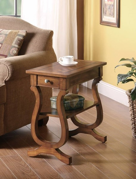 Homeroots Brown Wood Chair Side Table with Drawer and Bottom Shelf OCN-309956