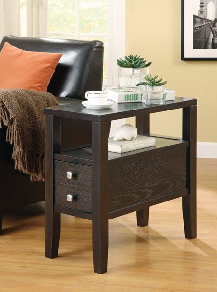 Homeroots Brown Wood Two Drawer Chair Side Table OCN-309957