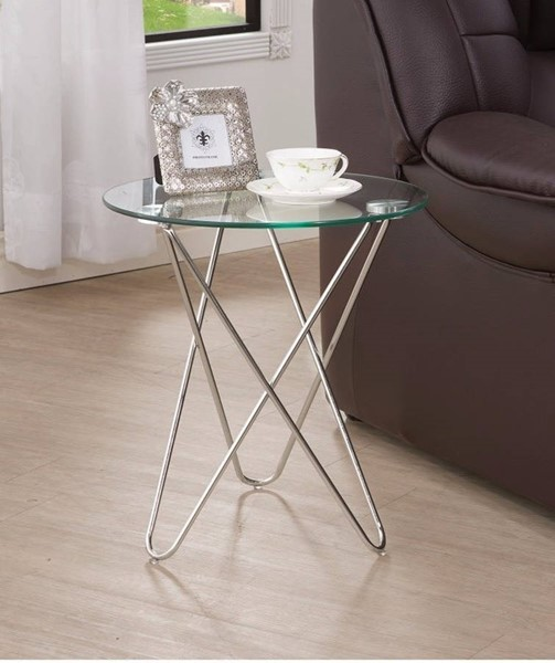 Homeroots Clear Glass Top Metal Round Table OCN-309978