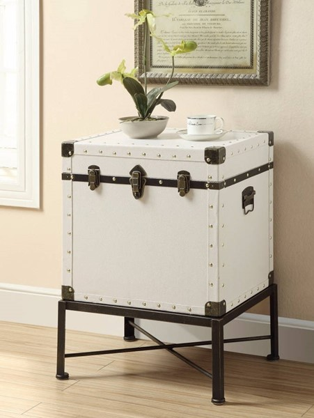Homeroots White Wood Trunk Accent Side Table OCN-309997