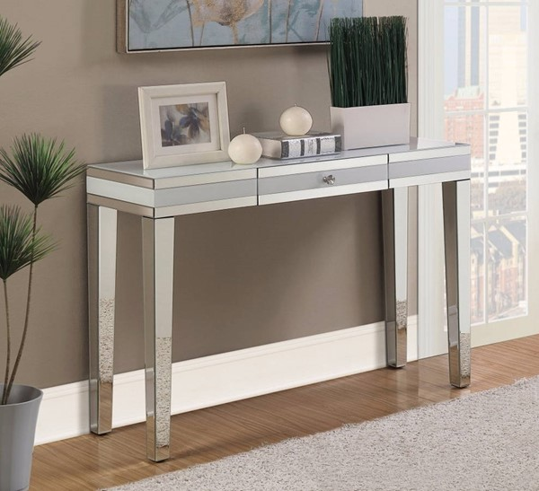 Homeroots Silver Glass Mirrored Console Table OCN-310049