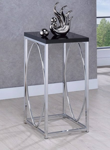 Homeroots Black Top Silver Metal Accent Table OCN-310051