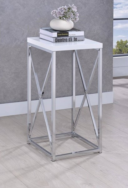 Homeroots White Top Silver Metal Accent Table OCN-310052