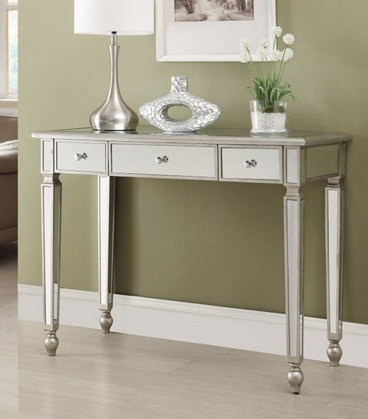 Homeroots Silver Metal Storage Drawers Console Table OCN-310056