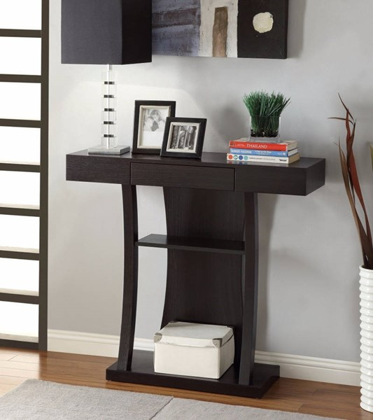 Homeroots Brown Wood T Shaped Console Table with 2 Shelves OCN-310059