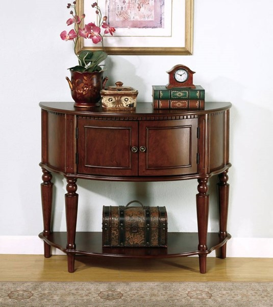 Homeroots Brown Wood Console Table with Curved Front and Inlay Shelf OCN-310060