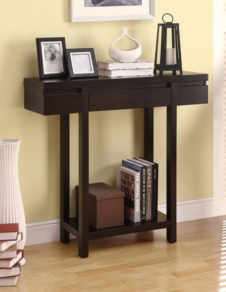 Homeroots Brown Wood Console Table with Lower Shelf OCN-310061