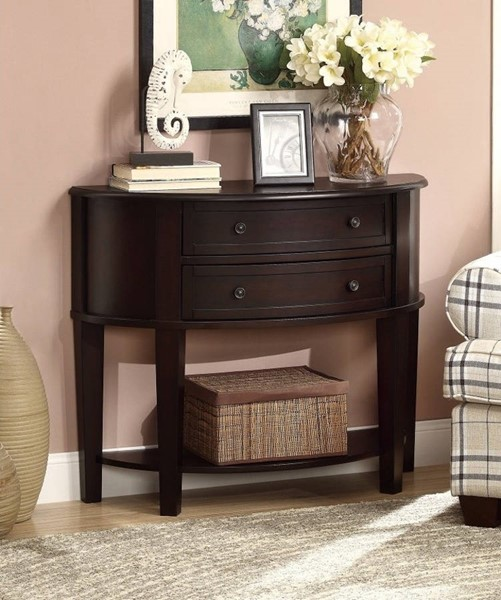 Homeroots Brown Wood 2 Drawers Console Table OCN-310063
