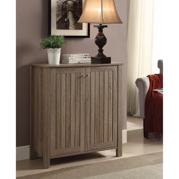 HomeRoots Gray Sophisticated Wood Shoe Cabinet OCN-310091