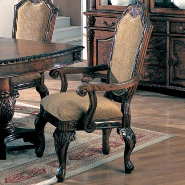2 Homeroots Brown Wood Fabric Upholstered Cushion Dining Arm Chairs OCN-310150