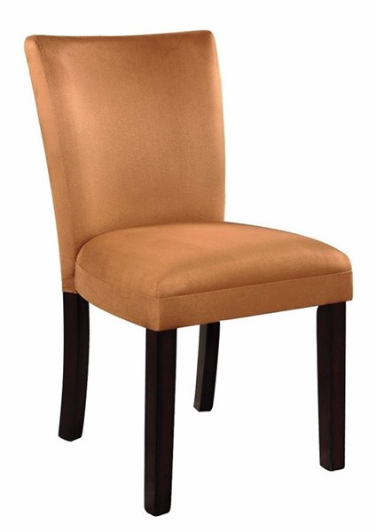 Homeroots Gold Fabric Brown Wood Side Dining Chairs OCN-310171-DR-CH-VAR