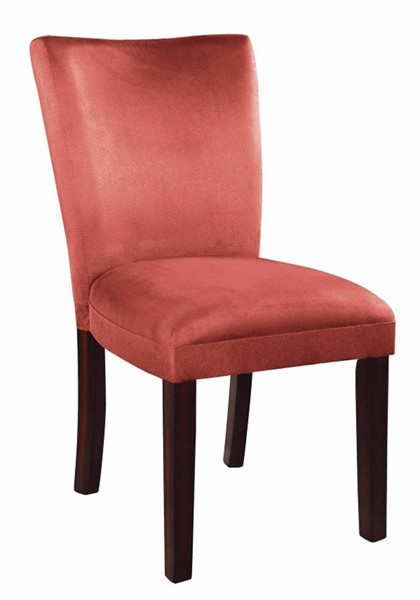 2 Homeroots Pink Fabric Brown Wood Side Dining Chairs OCN-310172