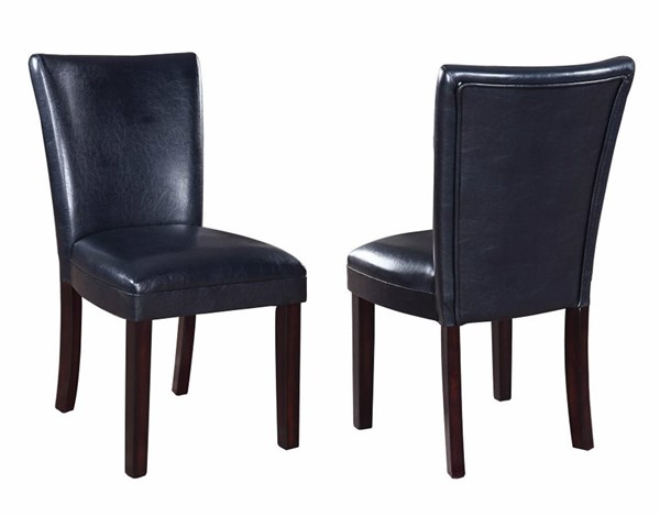 2 Homeroots Black Leather Upholstered Dining Side Chairs OCN-310184