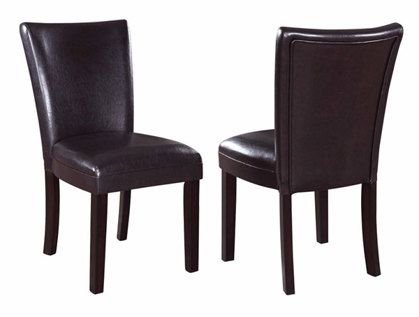 2 Homeroots Brown Leather Upholstered Dining Side Chairs OCN-310185