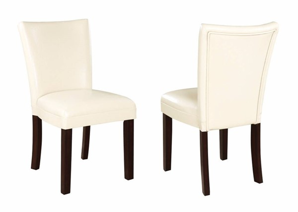 2 Homeroots Cream Leather Upholstered Dining Side Chairs OCN-310186