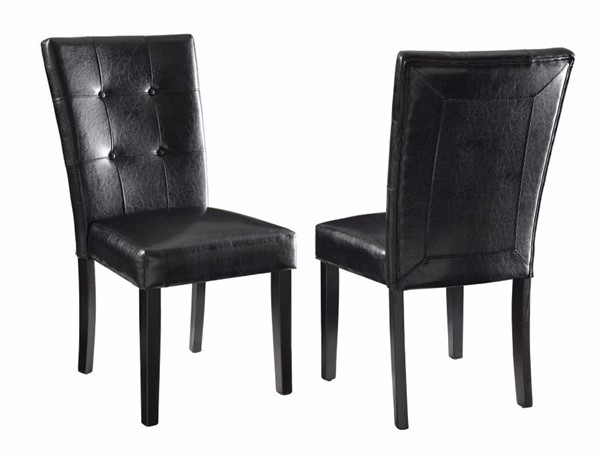 2 Homeroots Black Brown Wood Dining Side Chairs OCN-310197